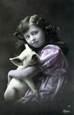 Vintage Postcard ~ Little Girl w/ Pig | Flickr - Photo Sharing!