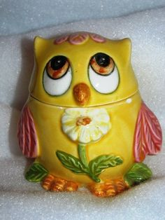 Retro Owl Kitchen Decor, Shaker, Sugar Bowl, Owlette With A Flower, Floral,  Spring Time, 40c