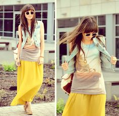 Summer maxi skirt with denim and a graphic tee. I'm going to start dressing like this!...sometime next year =)