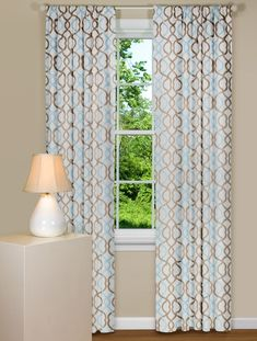 Curtain Panels in a Wavy Vertical Pattern in Blue and Brown