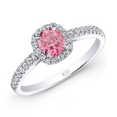 Kattan White Gold Pink Enhanced Radiant Halo Diamond Engagement Ring available Michael Herr Diamonds & Fine Jewelry. Visit our St. Louis area store or contact us to order.