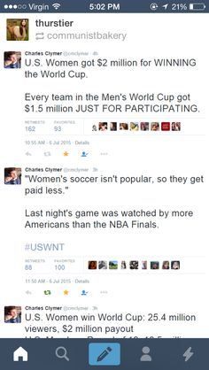 """""""The women's team is projected to bring in more than $17 million in revenues, including a $5 million surplus for fiscal year 2017, nearly doubling their male counterparts, who are expected to run a deficit."""" Not only that, but the men's soccer team is paid roughly $9.3 million for winning the World Cup; the women's team is paid $1.8 million"""