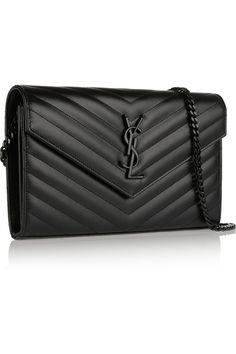 Saint Laurent|Monogramme quilted textured-leather shoulder bag|NET-A-PORTER.COM