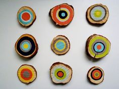 colorful wooden cross section wall art DIY de madera Corte transversal Ideas Decoración Decoracion