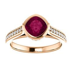 10kt Rose Gold 6mm Center Cushion Garnet and 56 Accent Genuine Diamonds Engagement Ring...(ST122578:266:P).! Price: $609.99 #diamonds #ring #gold #garnetring #fashionring #jewelry