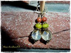 Edelstein Ohrringe aus Goldfluss, Peridot & Quarz in Bronze, Handgearbeitete Unikate, Damenohrringe, Geschenk für Sie, Weihnachtsgeschenk