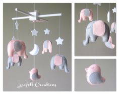 You can pick colors too :) Mobile Mobile, Felt Mobile, Baby Crib Mobile, Baby Cribs, Pink And Gray Nursery, Elephant Mobile, Felt Kids, Baby Mobiles, Baby Makes