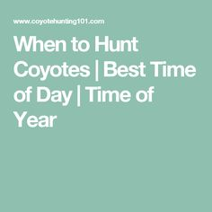 When to Hunt Coyotes | Best Time of Day | Time of Year