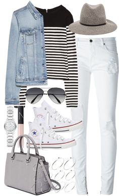 Outfit with a denim jacket by ferned featuring a blue jean jacketZara back zip sweater, 27 AUD / MANGO blue jean jacket, 31 AUD / County Of Milan destroyed skinny jeans, 305 AUD / Converse white flat shoes, 105 AUD / MICHAEL Michael Kors grey satchel handbag, 610 AUD / Burberry white bracelet, 855 AUD / ASOS silver ball ring, 16 AUD / Victoria Beckham black aviator sunglasses, 680 AUD / Janessa Leone band hat, 230 AUD / NARS Cosmetics lip shine, 35 AUD