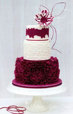 wedding cakes maroon Burgundy and White Ruffle cake with lace and candy stripe flower Glamorous Wedding Cakes, Beautiful Wedding Cakes, Gorgeous Cakes, Pretty Cakes, Cute Cakes, Amazing Cakes, Unique Cakes, Elegant Cakes, Burgundy Wedding Cake