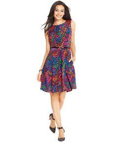 Ellen Tracy Sleeveless Printed Pleated Dress