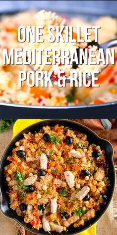 This One Skillet Mediterranean Pork and Rice is a delicious meal the whole family will love. It's easy and quick – only 30 minutes and one pan meal. meals stovetop One Skillet Mediterranean Pork and Rice Slow Cooker Sausage Recipes, Skillet Meals, Crockpot Meals, Paleo Recipes, Cooking Recipes, Dinner Recipes, Paleo Food, Paleo Diet, Soup Recipes