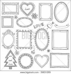 Illustration of Vector set of vintage photo frames hand drawn doodle style antique ornamental and cute photo frames for decoration and design vector art, clipart and stock vectors. Zentangle, School Picture Frames, Planner Doodles, Doodle Frames, Doodle Borders, Vintage Photo Frames, Drawing Frames, Borders And Frames, Bullet Journal Ideas Pages