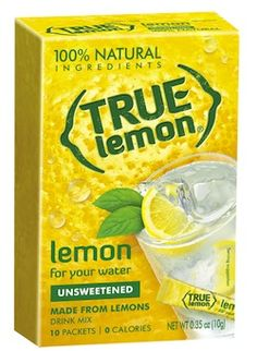I love this stuff - it's crystallized lemon juice. In little bitty packets. No added sugar or anything. You can add lemon to tea or whatever anytime without getting juice all over your hands. At my grocery store they have it by the sugar.