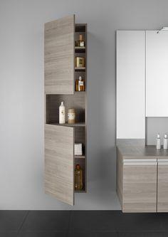 salle de bain Roca esthétique et fonctionnelle, collection HEIMA avec armoire colonne.