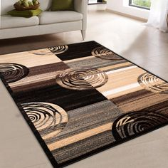 """AllStar Rugs Hand Carved Indian Contemporary Circles Area Rug. Size: 7'9"""" x 10'5"""""""