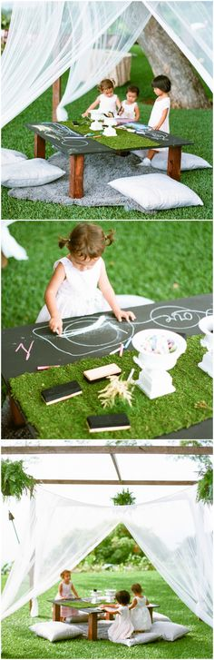 Wedding reception kid craft station, chalkboard coloring, pillows on the floor, ideas to keep kids entertained // James Rubio Photography