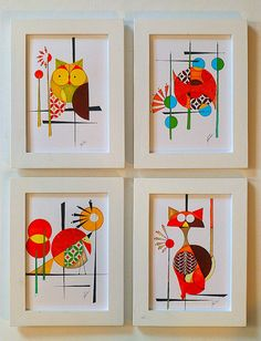 Set of 4  5x7 prints of Original Mid Century Modern styled Paintings, COLBY'S MENAGERIE, Abstract Animal Art, Cat,Fish, Bird, Owl