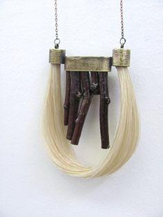 "Horse hair and wood pendant ""Birds Nest"" - Lauren Passenti Jewelry"
