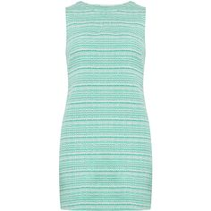 Dorothy Perkins Green tweed shift dress (585 UAH) ❤ liked on Polyvore featuring dresses, clothes / dresses, green, green dress, tweed dress, button dress, green shift dress and no sleeve dress