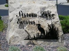 #dimensionallettering #3dlettering #acryliclettering #foamlettering #interiorsignage #interiorlettering #installationservices #SignaramaColorado #Signs #colorado Exterior metal dimensional lettering for stone Monument for Sixteen Lake Estates