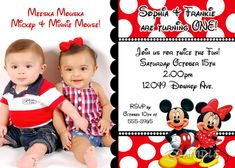 Mickey and Minnie Mouse Twin Birthday Invitation by 4LeafBoutique