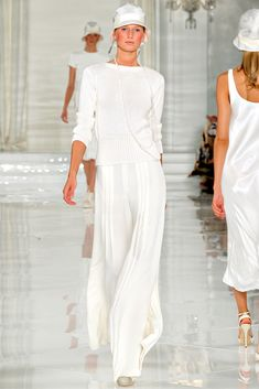 3/1/15 This white Ralph Lauren ensemble, with the cloche hat, long necklace, and straight silhouette are inspired by the 1920s. Also the light colors were popular during this time era.