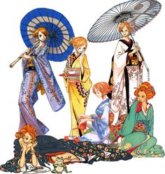 """I will call this, """"All Kimono,"""" though technically I don't know if they are all kimono. Haha It looks weird with the different drawing styles, doesn't it. So which one is your favorite kimono? One Piece Anime, Nami One Piece, One Piece Ship, Roronoa Zoro, Luffy X Nami, Different Drawing Styles, Nami Swan, One Piece Pictures, Cultura Pop"""