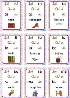 Lire des syllabes simples tout en jouant avec les mots avec un jeu de /J'ai ... et Qui a ...? #littératie #daily5 #fsl