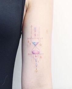 Cute hourglass tattoo by Mini Lau