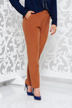 StarShinerS brown office with medium waist trousers with straight cut slightly elastic fabric October 19, Straight Cut, Trousers, Pants, Vibrant, Medium, Brown, Fabric, Tela