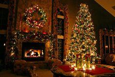 Chimenea salón para Navidad