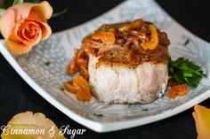 Seared Pork Chops with Apricot Brandy Sauce: succulent, flavorful pork served with an elegant jewel-toned pan sauce -- company worthy without being time consuming! Recipe shared with permission granted by Leslie Karst, author of DYING FOR A TASTE.