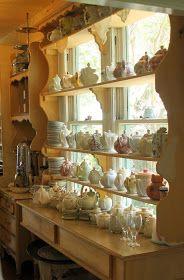 Tea pots at The Garden Gate tea room Dora, Fl. Via- Aiken House & Gardens Tea Room Decor, Vintage Tea Rooms, Cosy Home, Teapots And Cups, My Cup Of Tea, Shabby Chic Decor, Shabby Chic Cafe, Tea Set, Tea Time
