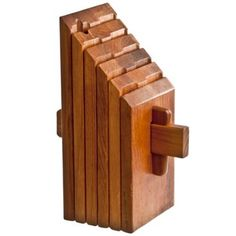 Dansk Puzzle-Style Teak Knife Block Kitchen Knives, Kitchen Tools, Wood Projects, Woodworking Projects, Kitchen Island Bar, Knife Storage, Knife Holder, Wood Tools, Wood Cutting Boards