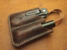 the Pull EDC Pocket organizer leather by BushgearLeatherworks