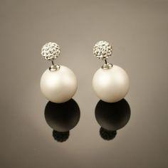 UNIQUE! Rhinestones&Pearls Big White Satin Pearl Crystal Rhinestones Tribal Double Stud Earrings