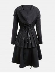 Layered Lace Up High Low Hooded Coat - BLACK M Mobile
