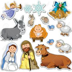Buy Nativity Scene Stickers by iostephy on GraphicRiver. Set of Christmas stickers representing the characters of the holy family-Gradient Nativity Clipart, Nativity Crafts, Christmas Nativity, A Christmas Story, Kids Christmas, Christmas Crafts, Christmas Decorations, Nativity Scene Pictures, Nativity Silhouette