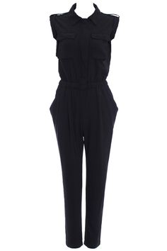 Sleeveless Black Harem Jumpsuit. Description: Sleeveless black harem jumpsuit, top featuring military-industrial pockets, buttoned front and shoulders, elastic waist, and lower body, featuring twi hip pockets, two rear patch pockets. This jumpsuit looks great for any occasion,with a jumpsuit this darling, there's no doubt your look will glean rave reviews. Fabric:Chiffon. Washing: Cool hand wash with similar colours, do not tumble dry. #Romwe