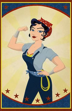 "turningpointsinwomenshistory: "" Labor Day Mash-Up: Rosie The Riveter Meets Wonder Woman ""Check out animator Catherine Satrun's newfangled version of Rosie the Riveter, a cultural icon who represents. Wonder Woman Kunst, Wonder Woman Art, Wonder Woman Comic, Wonder Women, Superman, Batman Art, Gotham Batman, Batman Robin, Comic Art"