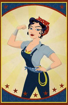 Two in one...Rosie the Riveter Wonder Woman by SatrunTwinsArtShop on Etsy, $20.00