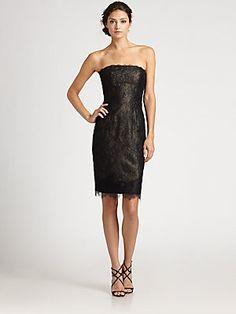 ML Monique Lhuillier Strapless Lace Dress - love Monique Lhuillier & Nicole Miller