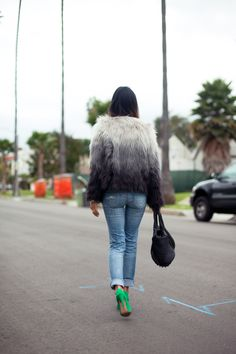 Aimee Song (Song of Style) in #ombre fur coat and jeans    Photo by Song of Style