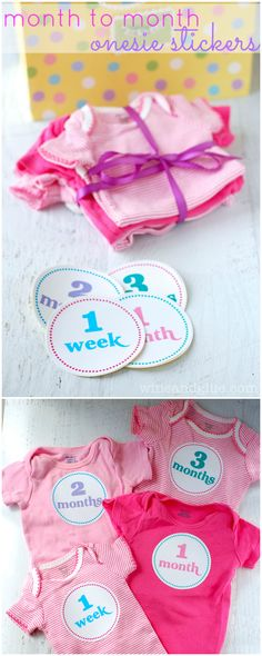 Month to Month Onesie Stickers   www.wineandglue.com   Onesie stickers for month to month baby pictures!  Perfect for a shower gift!