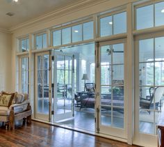 Sun room view from kitchen These windows/french doors are a possibility for the entire back wall of our house, especially if we decide not to do a sunroom addition. House Plans, Sunroom Addition, Home, Dance Rooms, Living Room Designs, New Homes, French Doors, House, Four Seasons Room