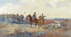 Orlando Norie - Military Scene with Troops moving into Position on a Battle Field
