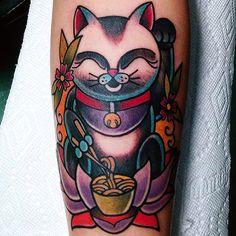 Lucky Cat by Jenny Siegel from Tattoo Eleven (San Antonio Texas)