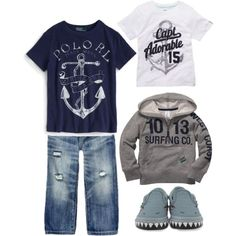 """Sail Away Toddler Boy Outfit. Especially   like the """"jaws"""" theme shoes"""