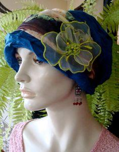 6974bdf67f29e Womens Deep TEal Blue Viscose Slouchy Chemo Hat Beanie Tam very stylish